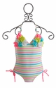 Kate Mack Girls Tank Swimsuit Garden Stripe