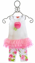 Kate Mack Girls Tunic with Leggings Ruffle Rose (Size 12Mos)