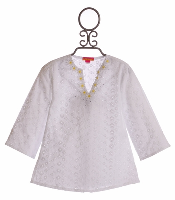 Kate Mack Girls White Cover Up Tunic Daisy Mae