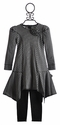 Kate Mack Gray Striped Boho Ballerina Girls Dress with Legging