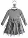 Kate Mack Grey Pretty Kitty Ruffle Dress