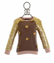 Kate Mack Heart of Gold Top with Sequin Sleeves