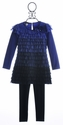 Kate Mack Little Girls Ruffle Tunic and Legging Blue Moon