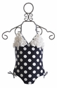 Kate Mack Navy Polka Dot Girls One Piece Swimsuit