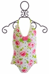 Kate Mack One Piece Swimsuit for Girls with Rose Print