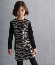 Kate Mack Party Dress for Girls with Sequins Zebra