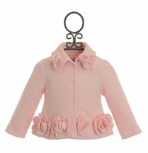 Kate Mack Pink Coat with Rosettes (24Mos,2T,3T,4T)