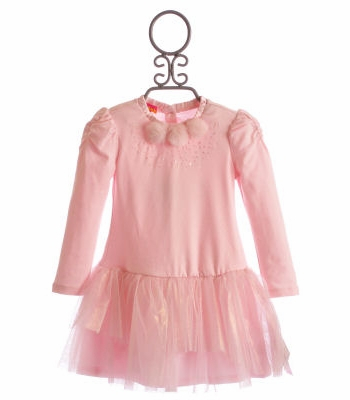 Kate Mack Pink Sparkle Little Girls Ruffle Dress