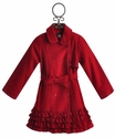 Kate Mack Red Ruffle Trench Coat for Girls