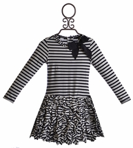 Kate Mack Ruffle Dress for Girls in Blue Stripes (Size 7)
