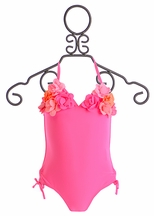 Kate Mack Ruffle Flower Swim Tank in Fuchsia (6X & 8)