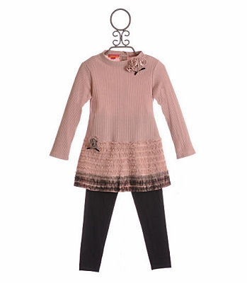 Kate Mack Ruffled Dusty Rose Girls Tunic and Pant Set