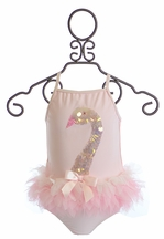 Kate Mack Swan Lake Two Piece Swimsuit in Pink (3Mos,6Mos,9Mos,18Mos,2T)