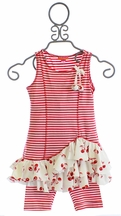 Kate Mack Tunic with Leggings for Girls Cha Cha Cherry (18Mos,3T,5,6)
