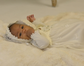 Katie Rose Baby Girl Ivory Lace Gown with Bonnet