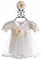Katie Rose Baby Girl Party Dress in Ivory (Size Newborn)