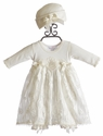 Katie Rose Baby Girls Bloomer Dress and Hat Ivory Sara (6 Mos & 9 Mos)