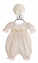 Katie Rose Baby Romper Ivory Ashley with Cap
