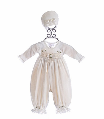 Katie Rose Cream Infant Romper with Hat
