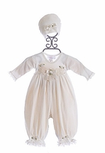 Katie Rose Cream Infant Romper with Hat (3Mos & 9 Mos)