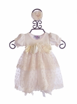 Katie Rose Designer Baby Bloomer Dress in Ivory Hollee