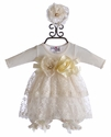 Katie Rose Designer Ivory Bloomer Dress with Lace (Newborn, 3 Mos, 6 Mos)