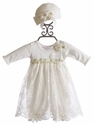 Katie Rose Faith Ivory Infant Girls Bloomer Dress and Hat (Size Newborn)
