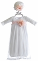 Katie Rose Fancy Layette Gown in White with Hat (Newborn & 6 Mos)