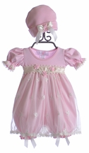 Katie Rose Infant Bloomer Dress Ashley Pink (with PINK ribbon)