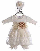 Katie Rose Infant Bloomer Dress with Lace Hollee (Size 6 Months)