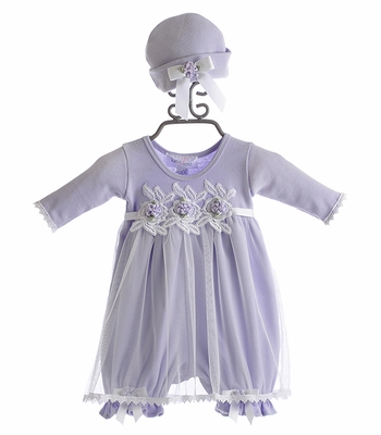 Katie Rose Infant Girls Dress and Hat Lavender Vickie
