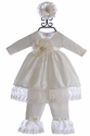 Katie Rose Infant Silk Dress with Pant in Ivory