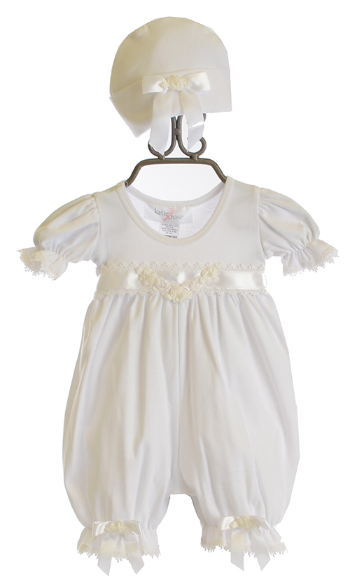Katie Rose Infant Take Home Outfit White Ashley Romper