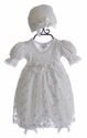 Katie Rose Infant White Lace Dress Jillian with Cap (Newborn, 6 Mos, 9 Mos)