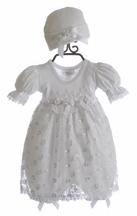 Katie Rose Infant White Lace Dress Jillian with Cap (3Mos & 6Mos)