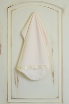Katie Rose Ivory Baby Blanket for Girls with Lace