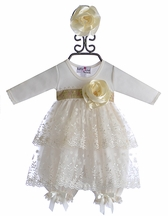 Katie Rose Ivory Baby Bloomer Dress with Flowers