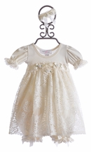 Katie Rose Ivory Lace Baby Girls Dress (Newborn & 3Mos)