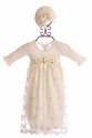 Katie Rose Ivory Lace Infant Gown with Hat