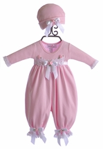 Katie Rose Pink Baby Girl Romper and Hat (3Mos,6Mos,9Mos)