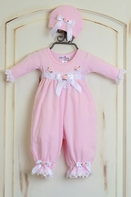 Katie Rose Pink Baby Girl Romper and Hat (NB & 6Mos)