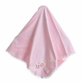 Katie Rose Pink Cotton Girls Blanket Ivory Trim