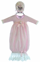 Katie Rose Pink Lace Infant Gown with Bonnet (3Mos & 6Mos)