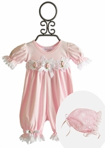 Katie Rose Pink Leila Lace Baby Romper with Bonnet (Newborn & 3Mos)