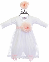 Katie Rose White Long Sleeve Dress for Infants (Newborn & 9 Mos)