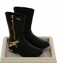 Kensie Girl Black Boots with Gold Zipper (2 & 3)