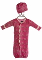 KicKee Pants Convertible Baby Gown with Hat Winter Berry (Size Newborn)