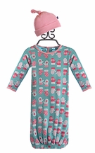 Kickee Pants Convertible Gown and Hat Warm Mittens (Size Newborn)