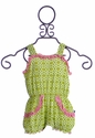 KicKee Pants Girls Romper Green Meadow Lattice