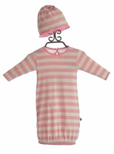 KicKee Pants Infant Girls Gown and Hat with Pink Stripes